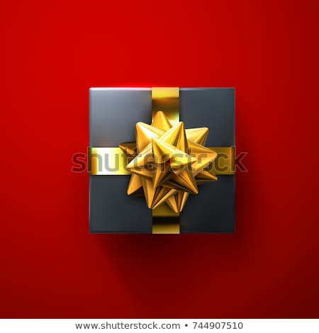 Happy Valentines Day Golden glitter sparkle. Gift box with bow and ribbon top view. Vector illustrat stock photo © olehsvetiukha