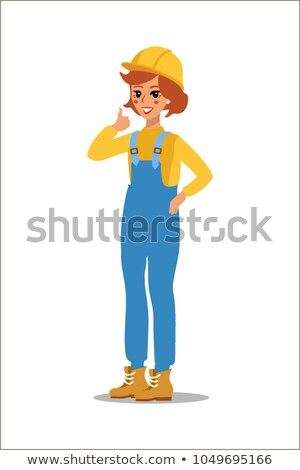 Construction female worker character vector design. Animate personage. Fun cartoon person. Isolated  Stock photo © bonnie_cocos
