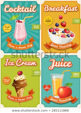Vector macaroons  poster in vintage style with typography elements stock photo © Giraffarte