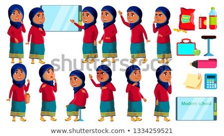Emiraty Muzułmanin dziewczyna dziecko zestaw wektora Zdjęcia stock © pikepicture