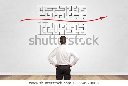 Stock fotó: üzletember · néz · labirintus · fal · kétség · keres