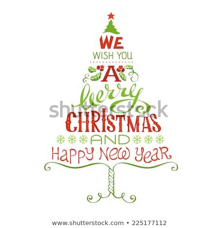 Neşeli Noel kaligrafi karalama vektör yalıtılmış Stok fotoğraf © robuart