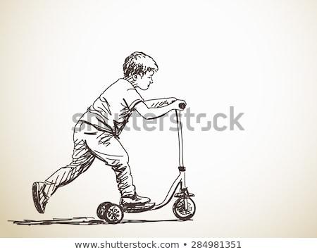 Firka fiú játszik rúgás moped illusztráció Stock fotó © colematt