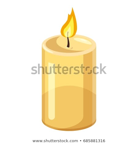 Burning Candle from Paraffin Wax Vector Isolated Stok fotoğraf © robuart