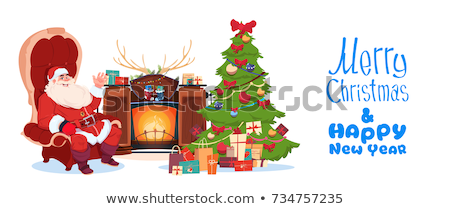 Xmas Postcards, Santa Claus Sitting on Armchair Stock photo © robuart