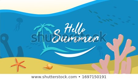 Hello Summer tropical coral reef art banner Stock photo © cienpies