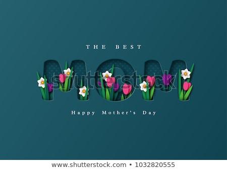 Feliz dia das mães cartão papel flores da primavera cartão ilustração Foto stock © cienpies