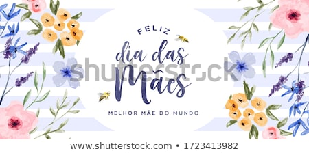 Portuguese Mothers Day floral card for moms love Stock photo © cienpies