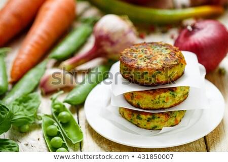 Sabroso vegetariano Burger primer plano foto parrilla Foto stock © Anna_Om