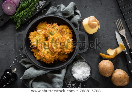 Eigengemaakt aardappel pannenkoeken bio Stockfoto © Peteer