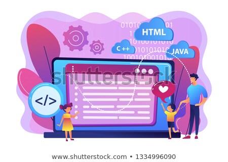 компьютер программированию лагерь крошечный люди счастливым Сток-фото © RAStudio