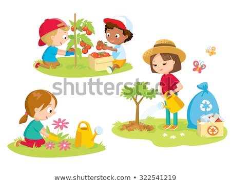 kid girl gardener flowers illustration stock photo © lenm