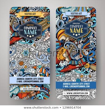 Winter sport hand drawn doodle banners set. Cartoon detailed flyers. Stock photo © balabolka