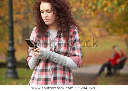 мобильного телефона вызова осень пейзаж Сток-фото © monkey_business