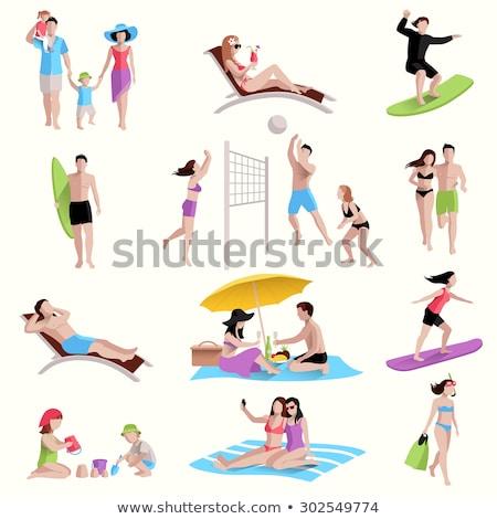 Szett izolált tárgyak emberek tengerpart illusztráció víz Stock fotó © bluering
