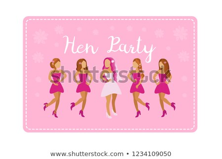 bride with friends women hen party holiday vector stock photo © robuart