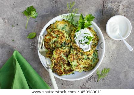 Courgette pannenkoeken vegetarisch zure room plantaardige Stockfoto © tycoon