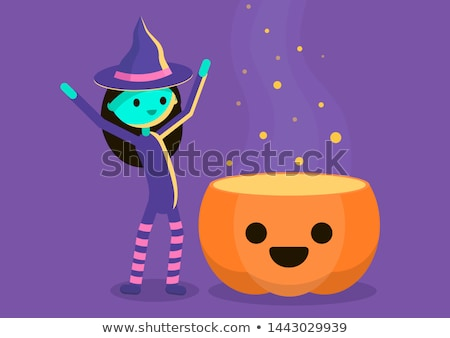 little witch with a pumpkin on pink background Stock photo © choreograph
