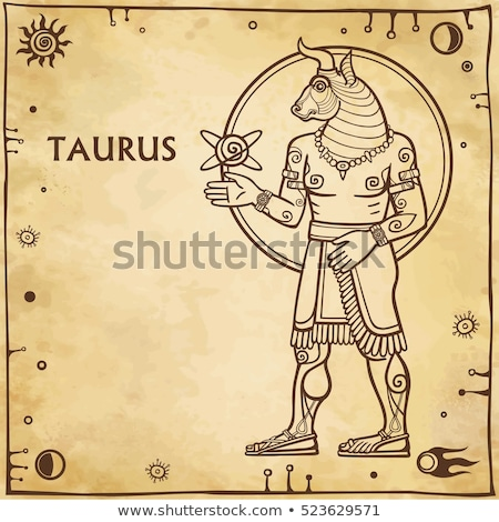 Brown Line Art of Taurus Zodiac Sign on a Beige Background Stock photo © cidepix