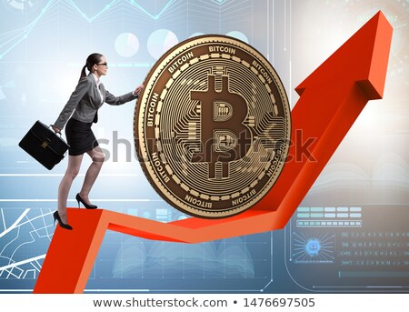 businesswoman pushing bitcoin in cryptocurrency blockchain conce stock photo © elnur