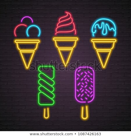 Vintage Glow Poster with Different Ice Cream Stock photo © lissantee