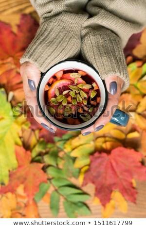 Feminino mãos caneca quente chá medicinal Foto stock © pressmaster