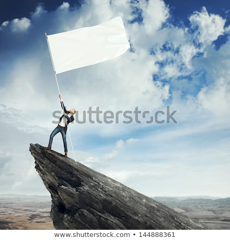 Businessman on the top of a rock holding flag Stock photo © ra2studio