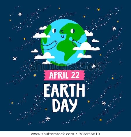 Planeet kaart vrede dag aarde briefkaart Stockfoto © robuart