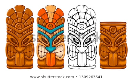Tiki Idol Carved Wooden Totem Color Vector Stock photo © pikepicture