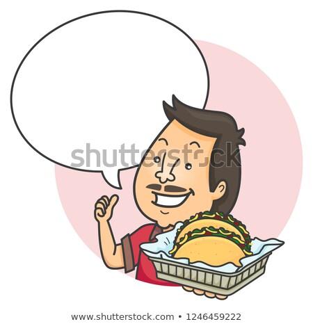 Man Taco Speech Bubble Illustration Stock photo © lenm
