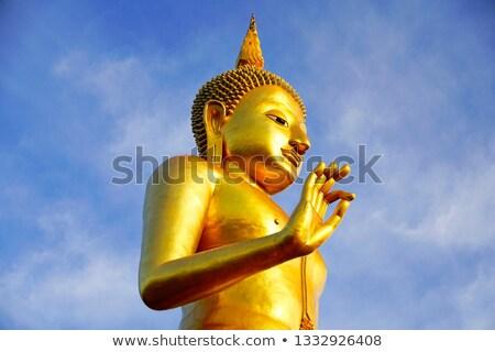 posąg · Buddy · Błękitne · niebo · świątyni · Wietnam · twarz - zdjęcia stock © vapi