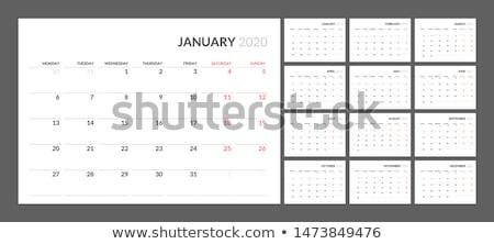 Modern mértani naptár elrendezés design sablon fal Stock fotó © SArts