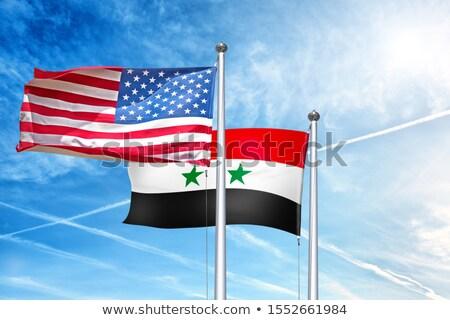 Bayraklar Suriye Amerika Birleşik Devletleri Amerika bo iş Stok fotoğraf © Zerbor