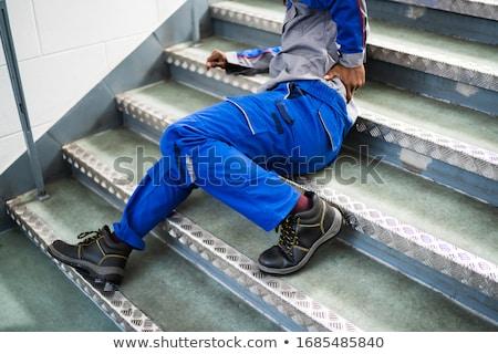 Férfi lépcsőház baleset cédula ősz munka Stock fotó © AndreyPopov