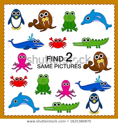 find two same animal characters color book game Stock photo © izakowski