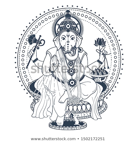 Ganesh Puja linear style postcard Stock photo © Olena