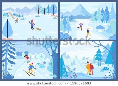 Skiing Downhill Winter Hobby of Character in Woods Stock photo © robuart