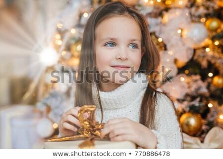 Adorável pequeno feminino criança quente olhos azuis Foto stock © vkstudio