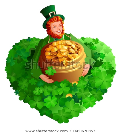 Stock photo: St. Patrick's Day red gnome leprechaun holds pot of gold coins among clover heart shape