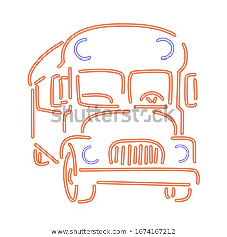 Doodle or hand drawn school bus in the form of luminous neon lines Stock photo © Zhukow
