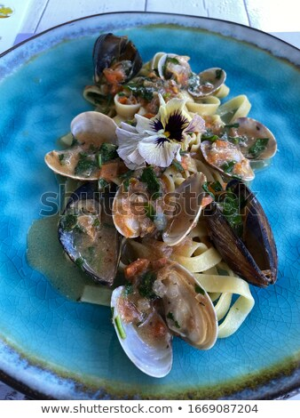 Mediterrán tengeri hal olasz tészta étel tenger Stock fotó © ElenaBatkova