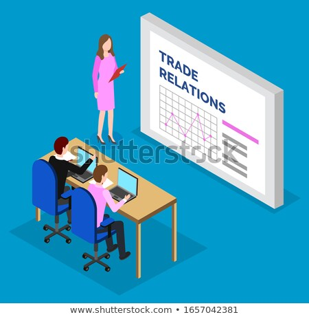 Woman Stand near Statistics Chart, Trade Relations Stock photo © robuart