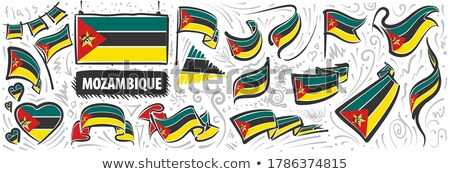 Vector set of the national flag of Mozambique in various creative designs Stock photo © butenkow
