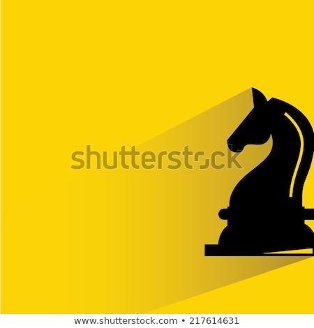 Proste czarny rycerz szachy ikona cień Zdjęcia stock © evgeny89