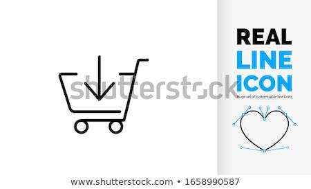 Zakupy online koszyka pobrania arrow komputera telefonu Zdjęcia stock © yupiramos
