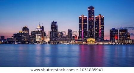 Foto stock: Detroit · EUA · ver · linha · do · horizonte · céu · edifício