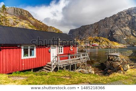 Pescaria aldeia Noruega autêntico tradicional vermelho Foto stock © dmitry_rukhlenko