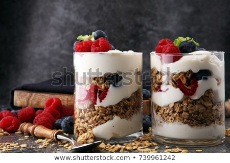 Glass of Yoghurt with Fruit Berries Stock photo © AlessandroZocc