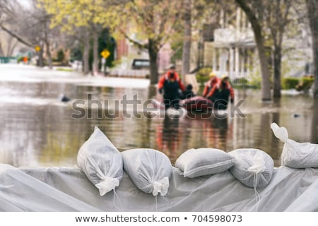 árvíz · ház · víz · piros · tető · folyó - stock fotó © freelancer