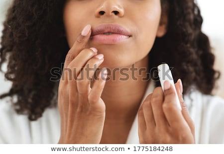 donna · rossetto · isolato · bianco · faccia - foto d'archivio © rob_stark